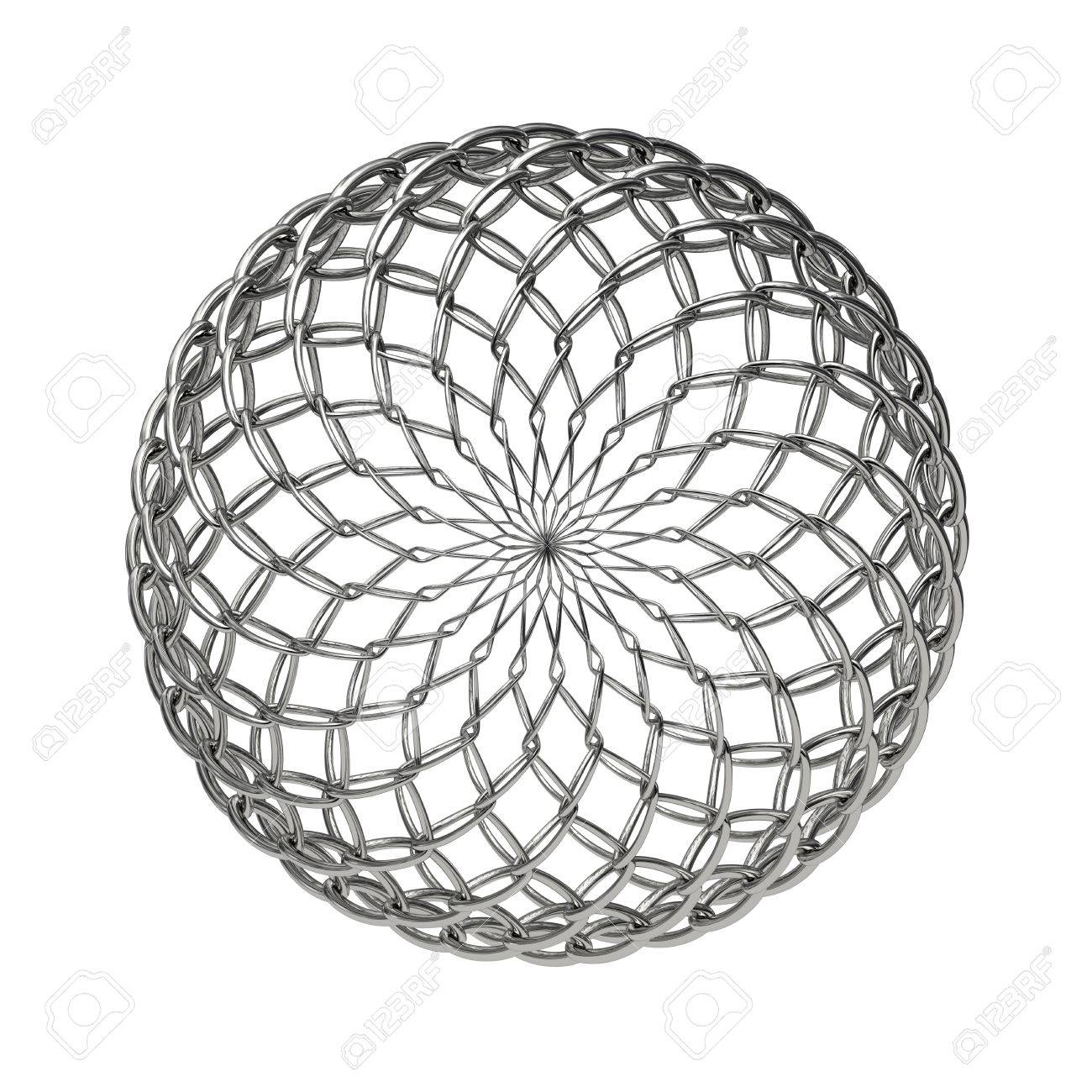 1300x1300 Ball Composed From Metallic Mesh And Isolated On White Background