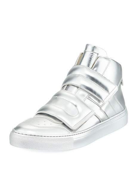 456x570 Burberry Warslow Metallic Leather High Top Sneaker, Silver, Youth