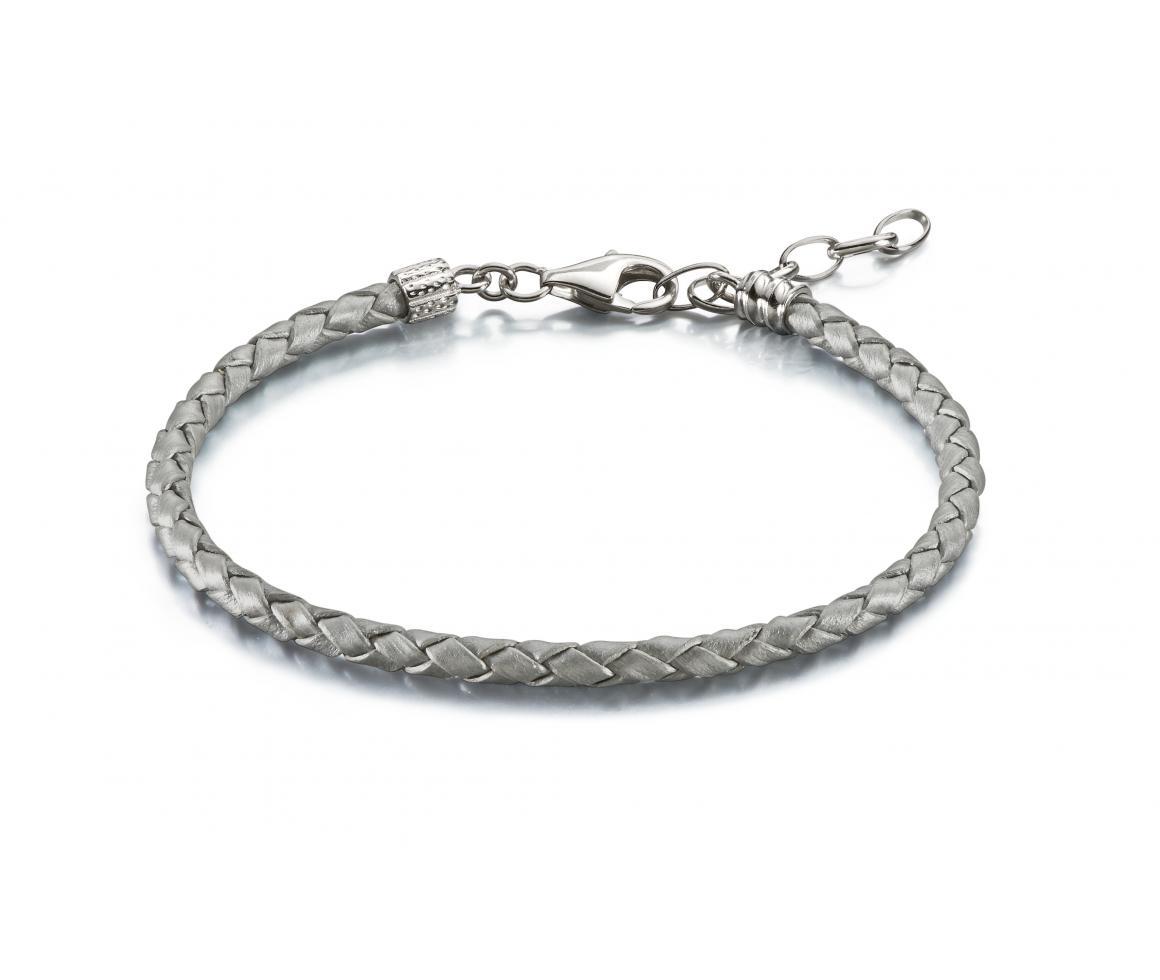 1160x980 Silver Metallic Braided Leather Bracelet