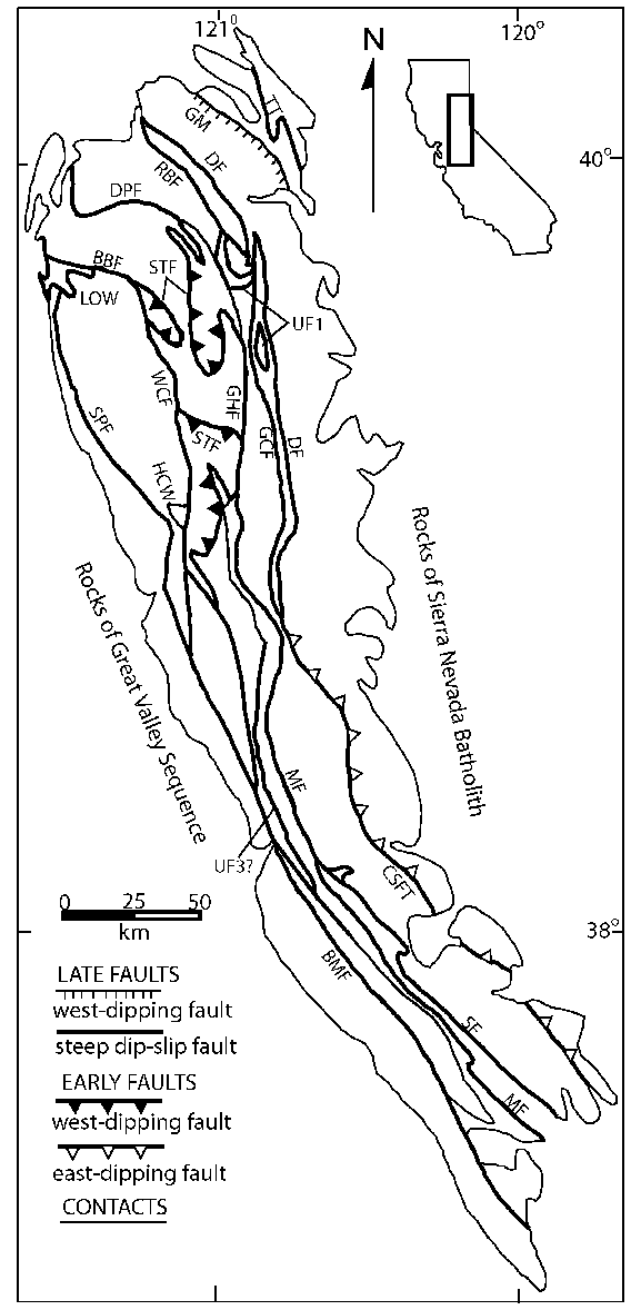 577x1178 Map Showing Major Faults Of The Sierra Nevada Foothills Metamorphic