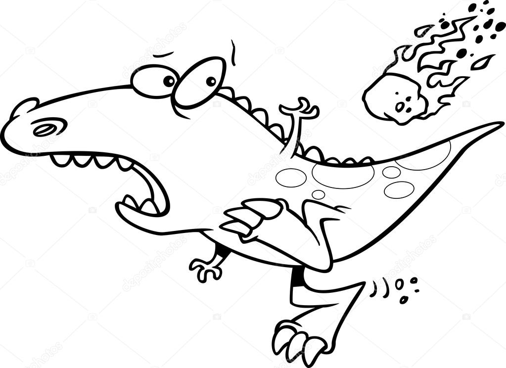 1023x744 Cartoon Dinosaur Extinction Stock Vector Ronleishman