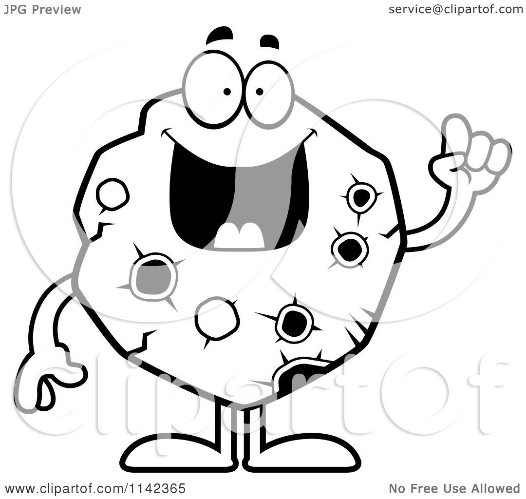 1080x1024 Cartoon Clipart Of A Black And White Asteroid With An Idea