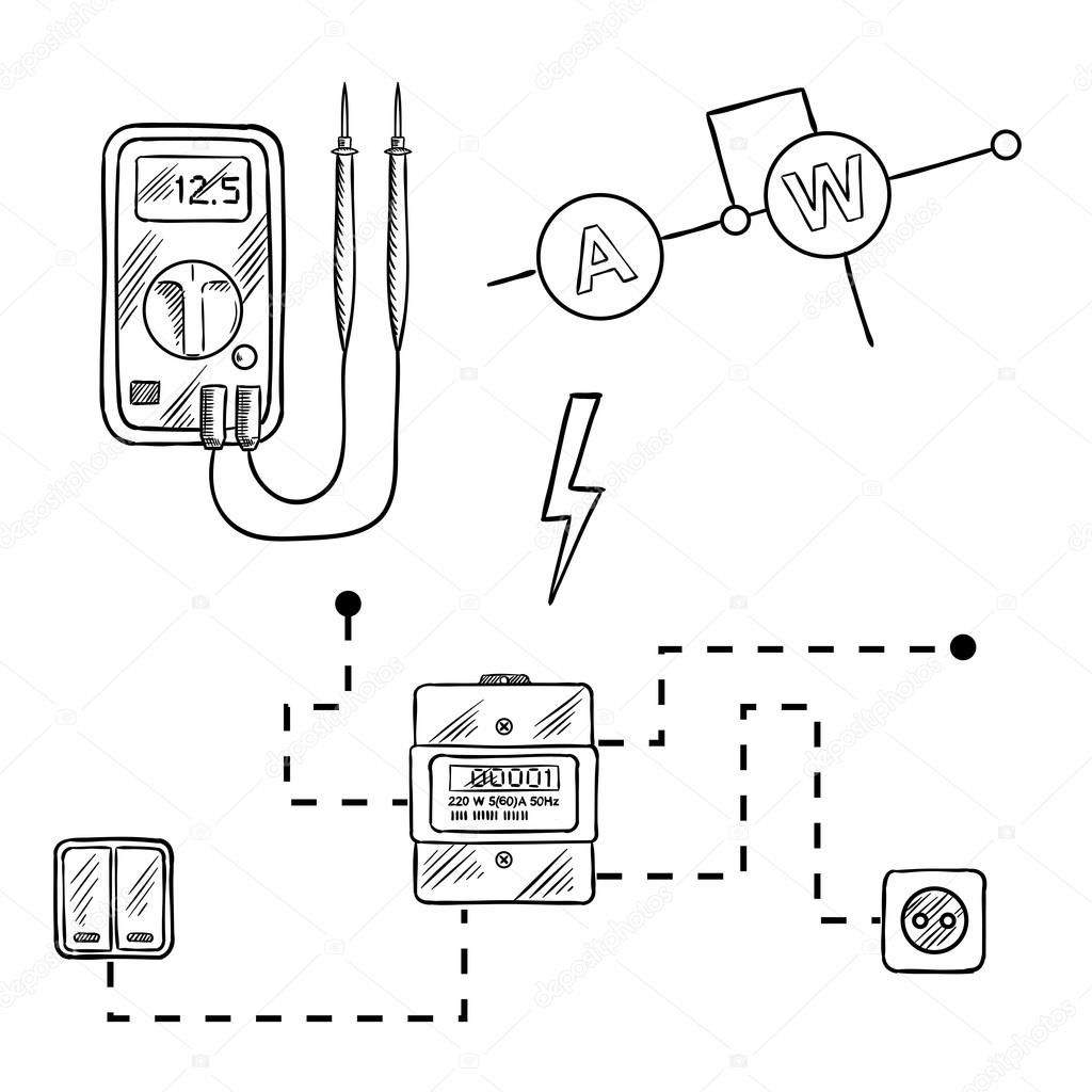 1024x1024 Voltmeter, Electricity Meter And Electrical Circuit Sketch Stock