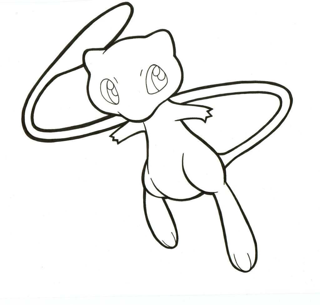1024x978 Mew Lineart