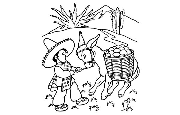600x383 Little Boy Pulling A Mexican Donkey Coloring Pages Color Luna