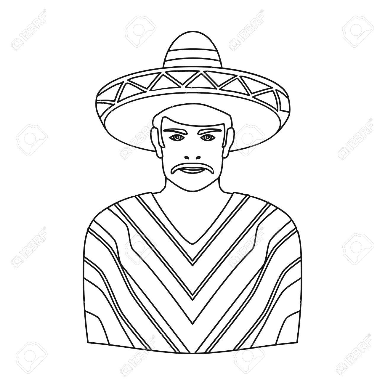 1300x1300 Mexican Man In Sombrero And Poncho Icon In Outline Style Isolated