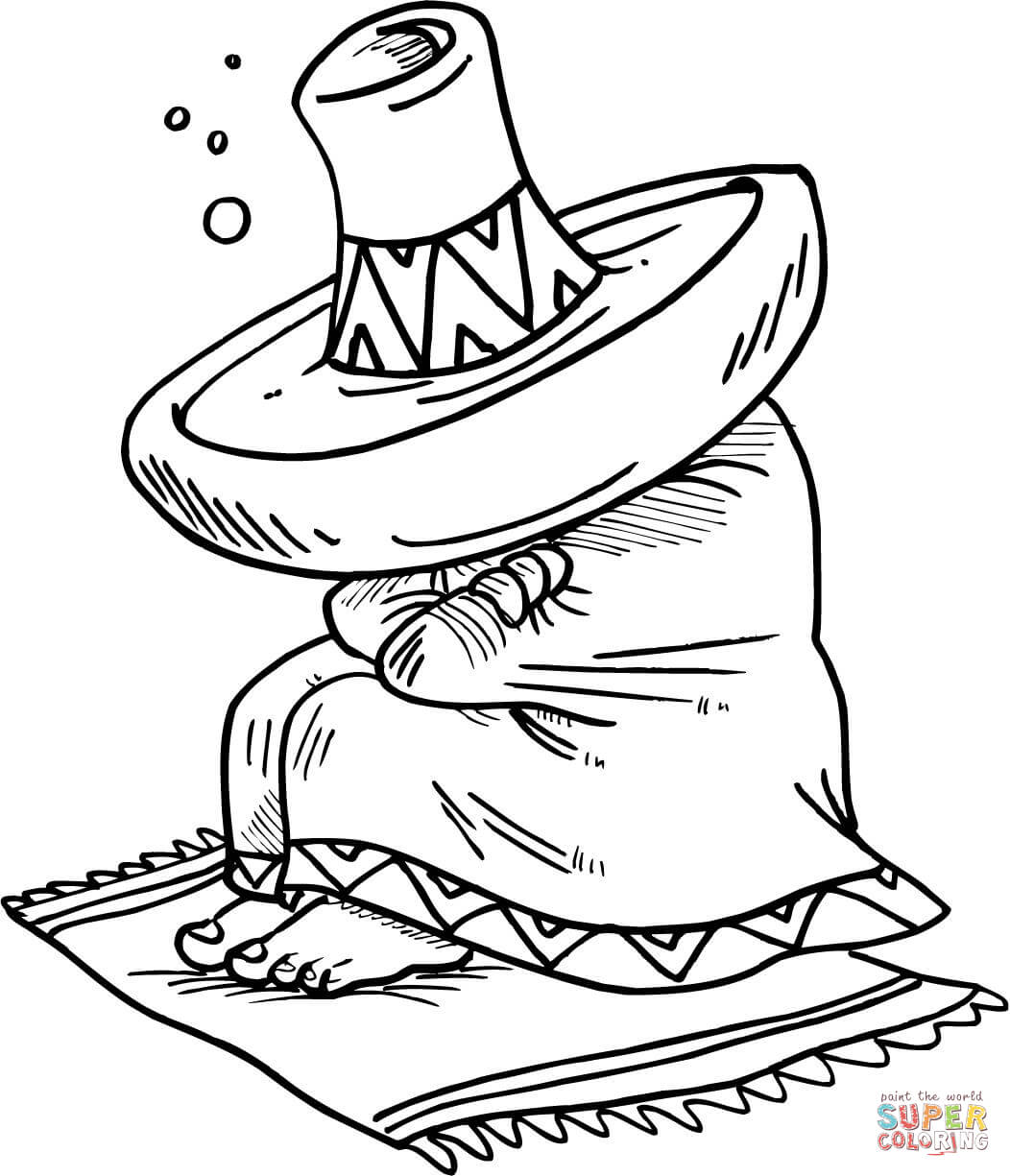 1052x1225 Mexican Sleeping Under His Sombrero Coloring Page Free Printable