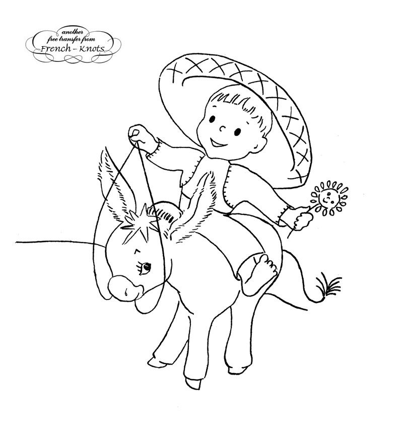 800x880 Mexican Boy On A Donkey Embroidery Transfer Pattern Embroidery