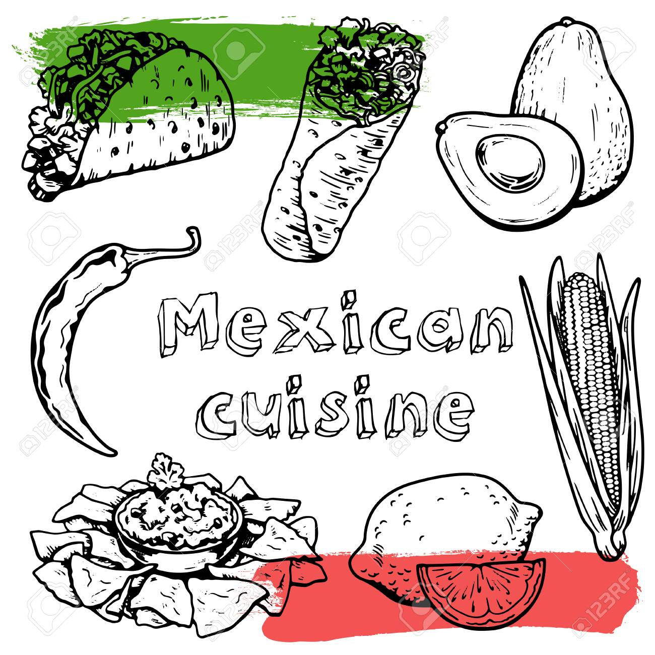 1300x1300 Mexican Cuisine And Culture Hand Drawn Vector Images Royalty Free