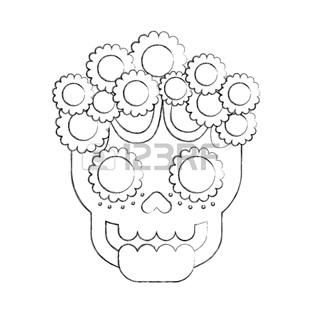 450x450 Skull Flowers The Day Of The Death Mexican Traditional Culture