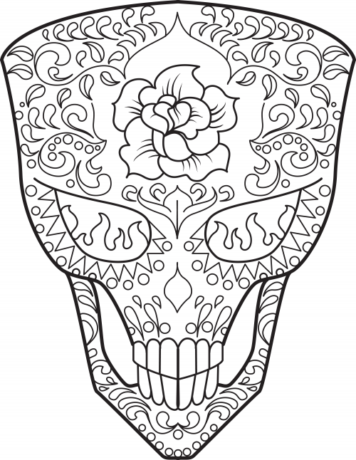 500x646 Sugar Skull Coloring Page 14 Sugar Skulls, Mexicans And Celebrations