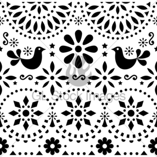 325x325 Mexican Folk Art Vector Seamless Pattern With Birds And F Gl