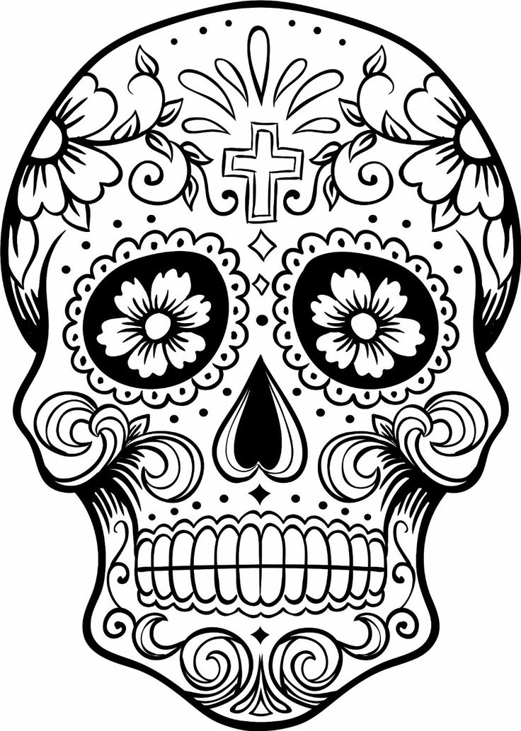 736x1034 Mexican Skull Coloring Pages