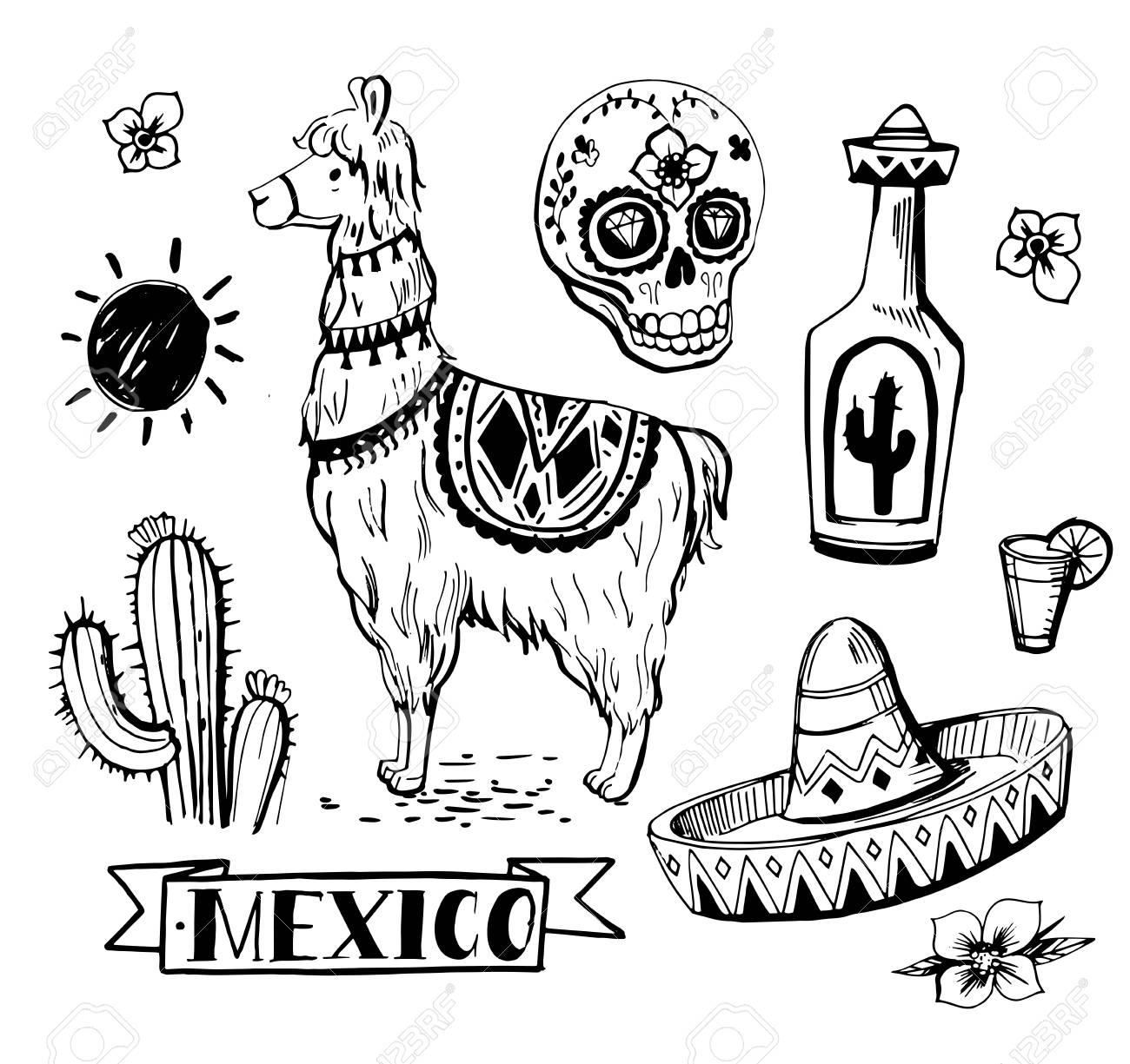 1300x1225 Set Of Mexican Objects Sun, Cactus, Llama, Sombrero, Tequila
