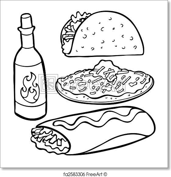 561x581 Free Art Print Of Mexican Food Items Line Art. Mexican Food Items