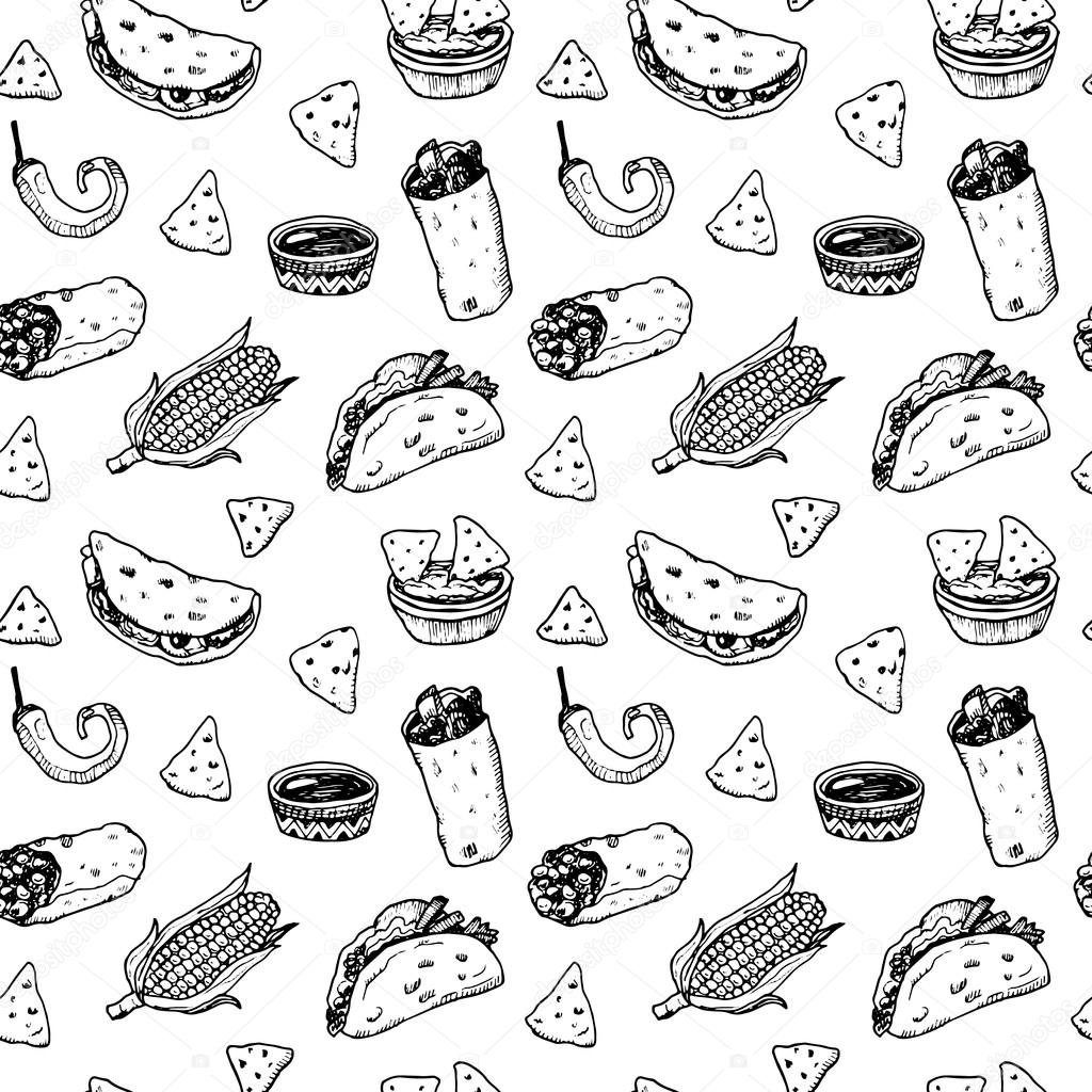 Mexican Food Drawing