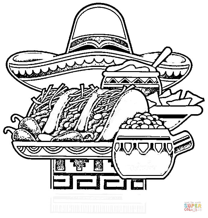 690x720 Mexican National Food Coloring Page Free Printable Pages