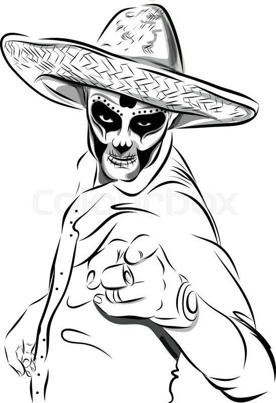 549x800 Day Dead Sugar Skull Man Vector. Mexican Skull. Day