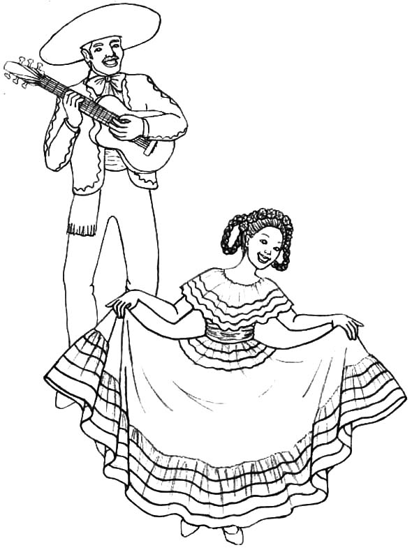 600x788 Little Mexican Girl Wearing Mexican Dress Coloring Pages Color