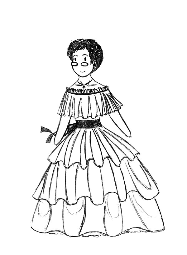 600x814 Mexican Dress Coloring Pages For Kids Mexican Dress Coloring