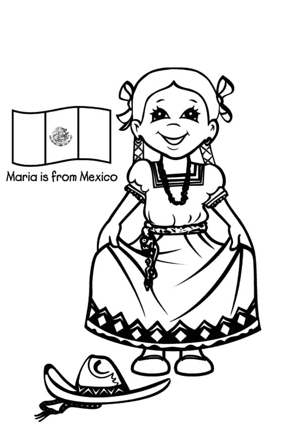 600x847 Beautiful Mexican Girl Dress Coloring Pages Color Luna