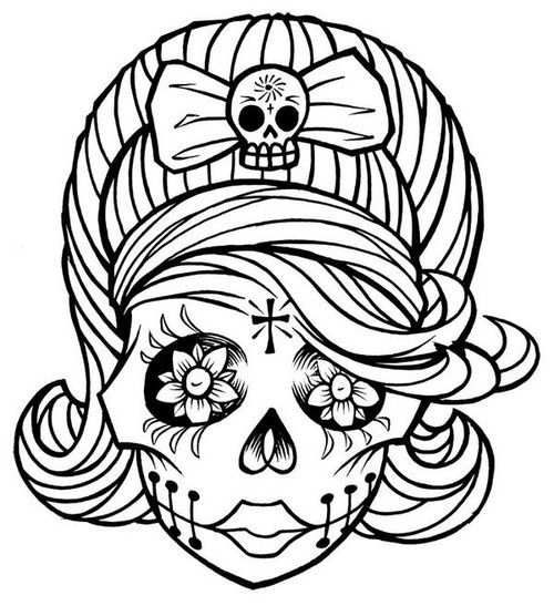 500x547 Mexican Skull Coloring Pages