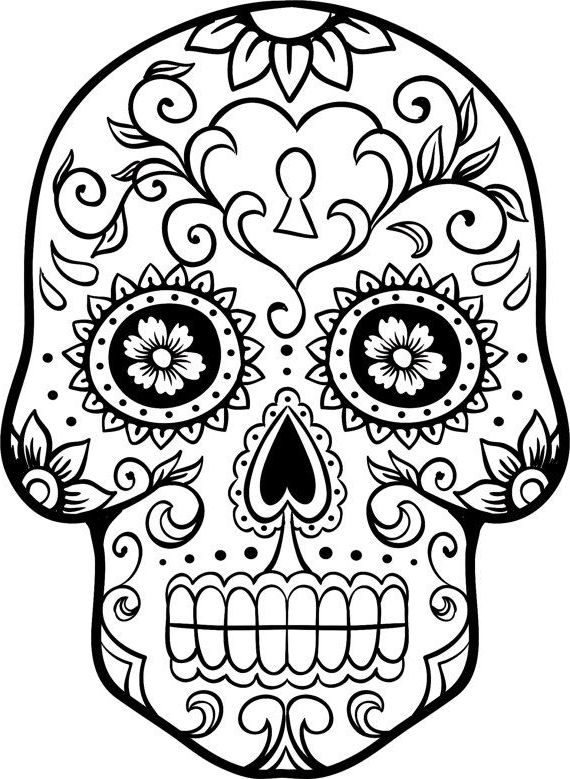 570x779 Mexican Sugar Skull Coloring Page