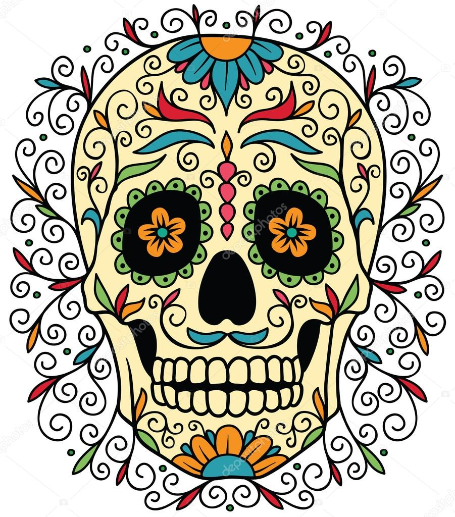 901x1024 Mexican Sugar Skull Stock Vector Rvvlada