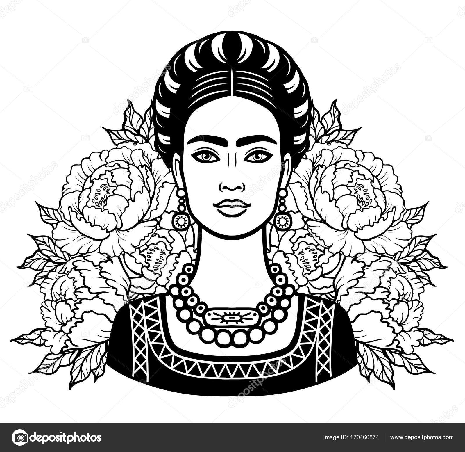 1600x1554 Portrait Of The Beautiful Mexican Girl In Ancient Clothes