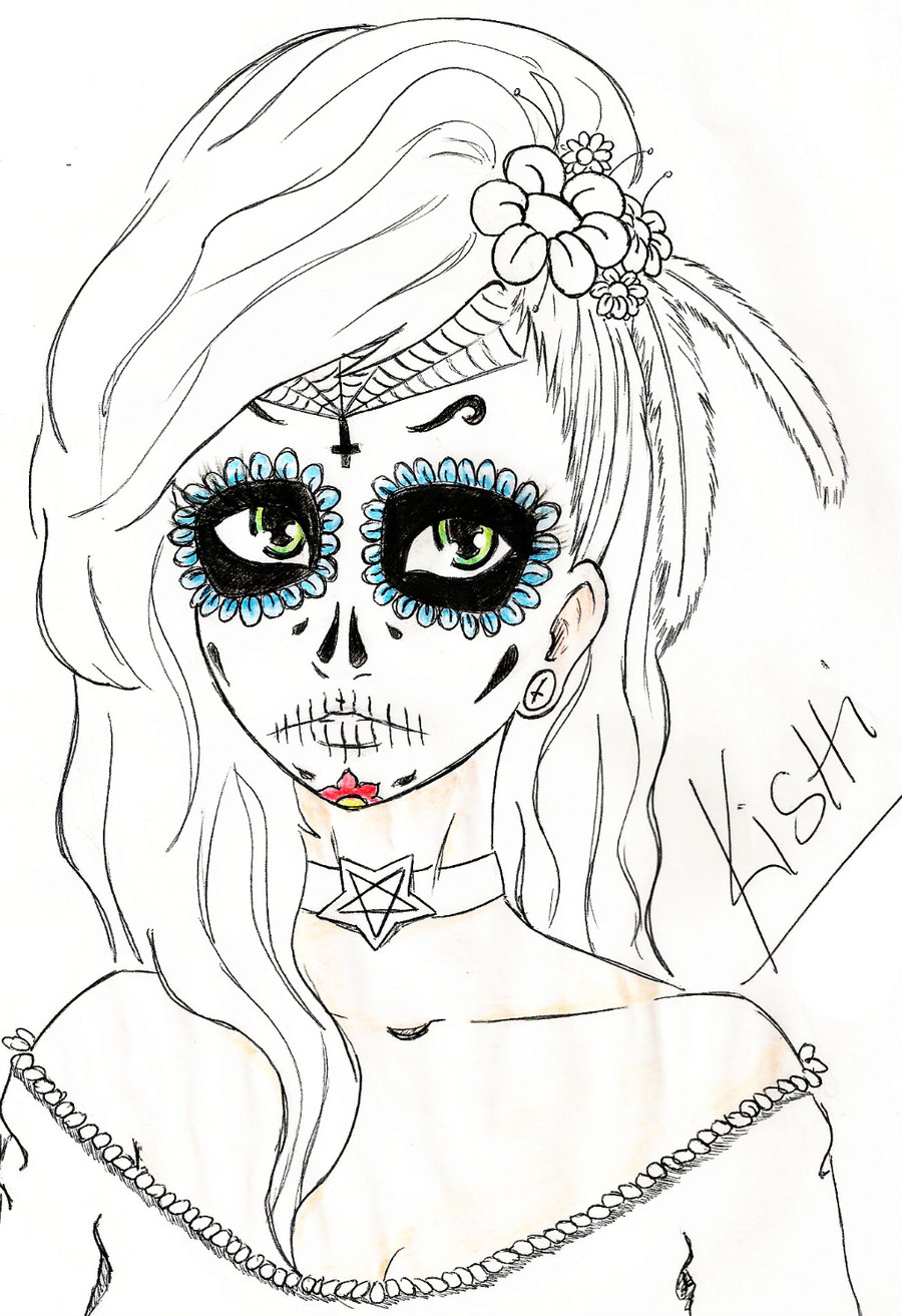 900x1313 Skull Mexican Girl By Kishihana