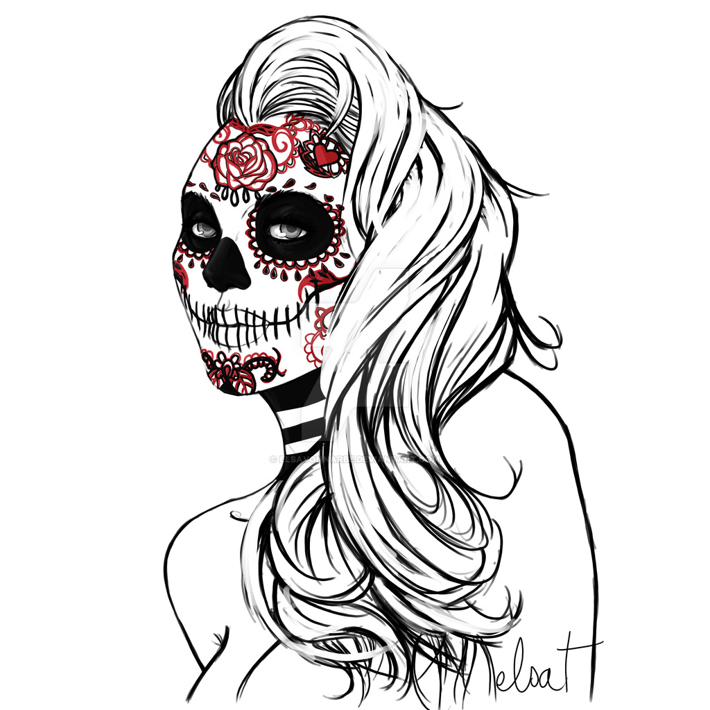 1024x1024 Mexican Girl Skull By Frah