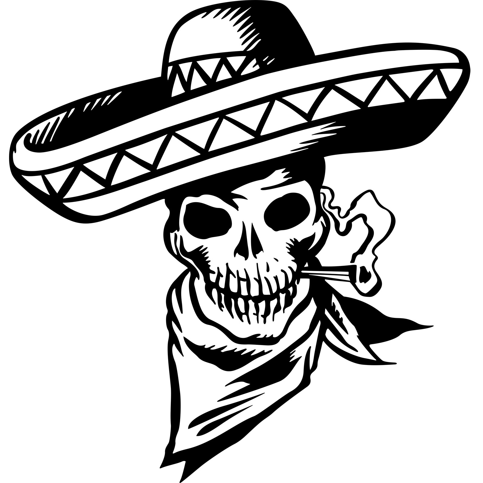 1600x1600 Cartoon Mexican Skull Wall Sticker