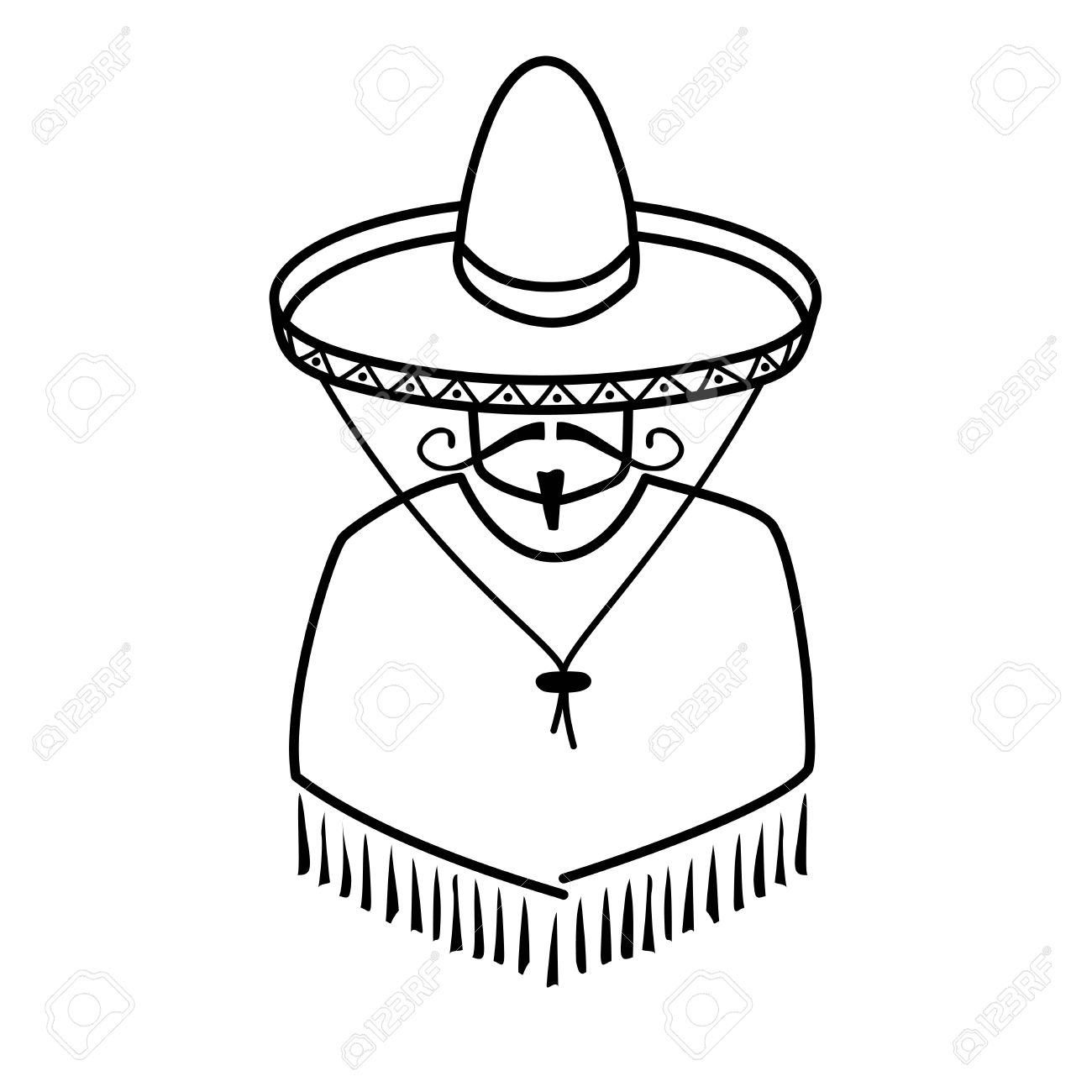 1300x1300 Illustration Of Mexican In Sombrero On White Background Royalty