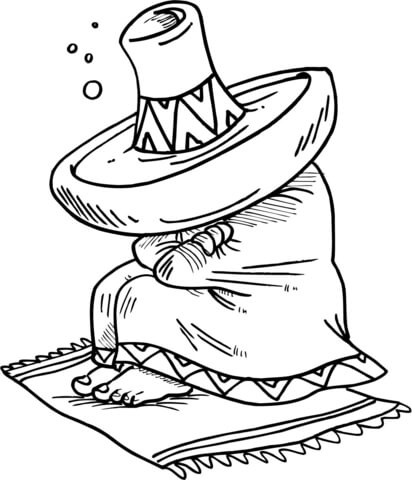 412x480 Mexican Sleeping Under His Sombrero Coloring Page Free Printable
