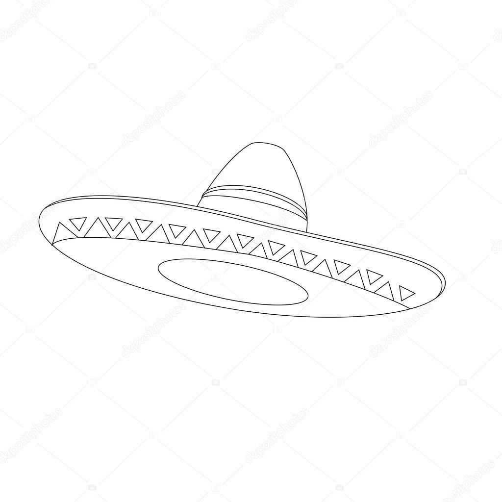 1024x1024 Mexican Hat Outline Drawings Stock Vector Viktorijareut