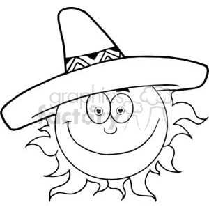 300x300 Royalty Free 4057 Smiling Sun With Sombrero Hat 382034 Vector Clip