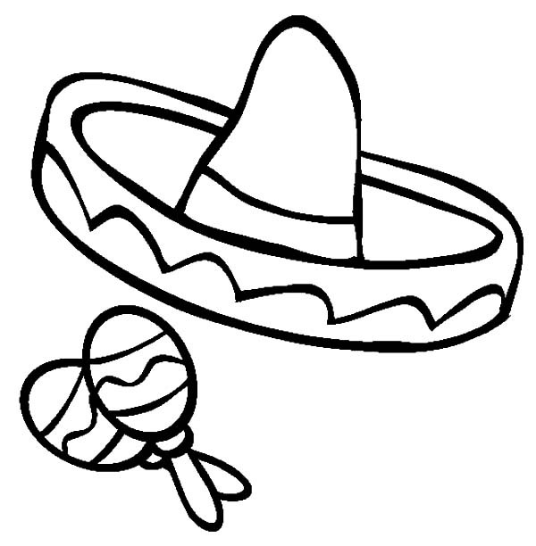 600x612 Sombrero And Maracas For Cinco De Mayo Coloring Pages Best Place