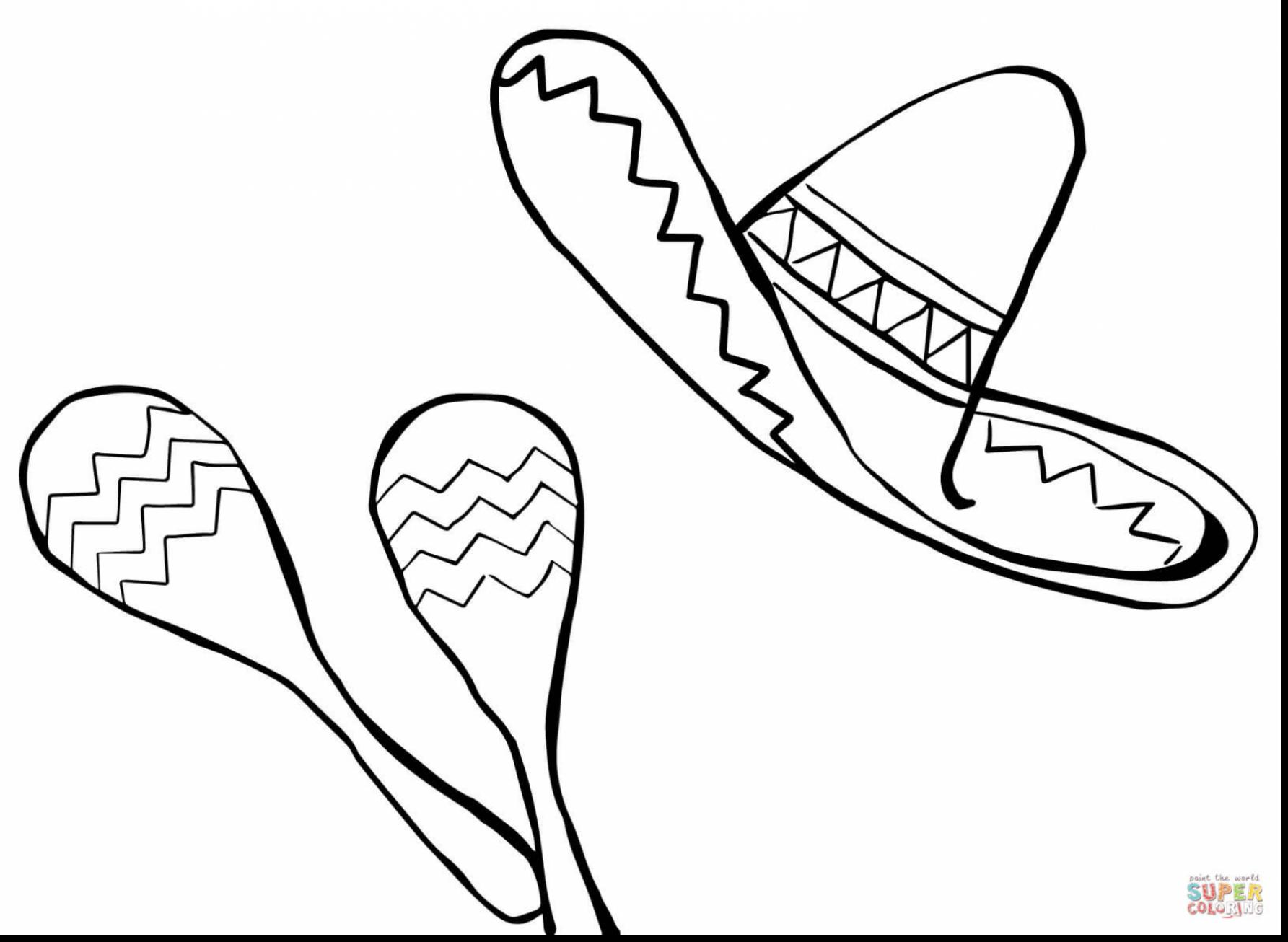 1785x1306 Good Mexican Sombrero And Maracas Coloring Page With Mexican