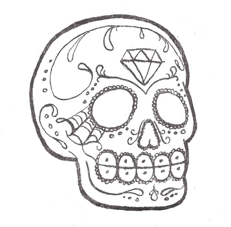736x725 Outline Sugar Diamond Art Design Skulls Skull Tattoos