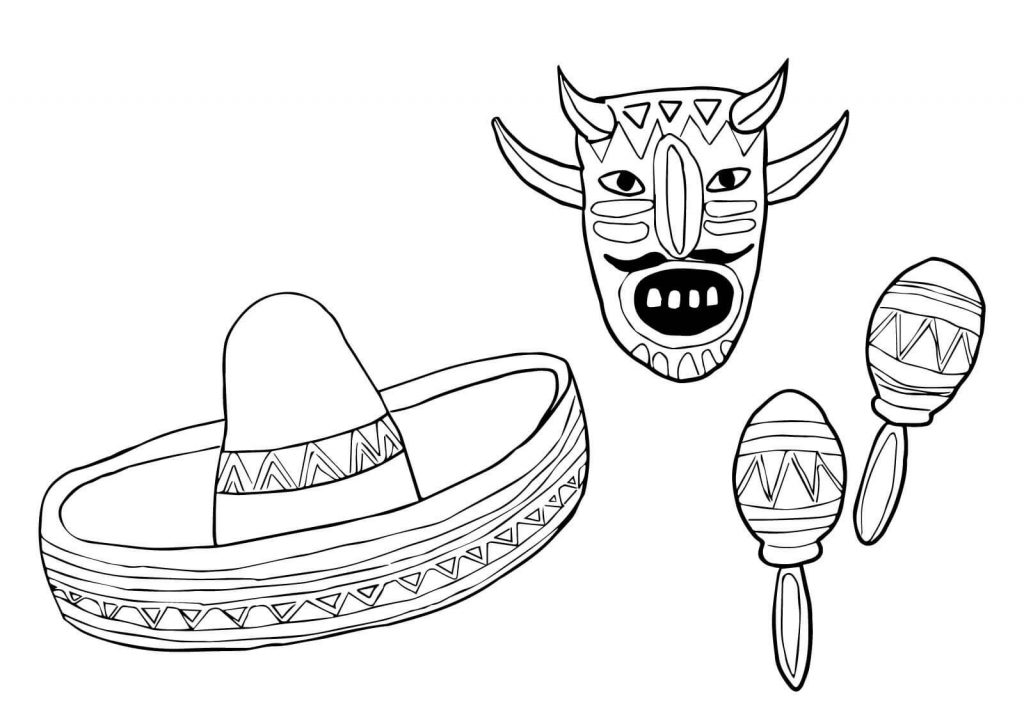 1024x724 Mask Sombrero And Maracas Mexico Coloring Page