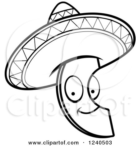 450x470 Black And White Happy Mexican Avocado Slice With A Sombrero Hat