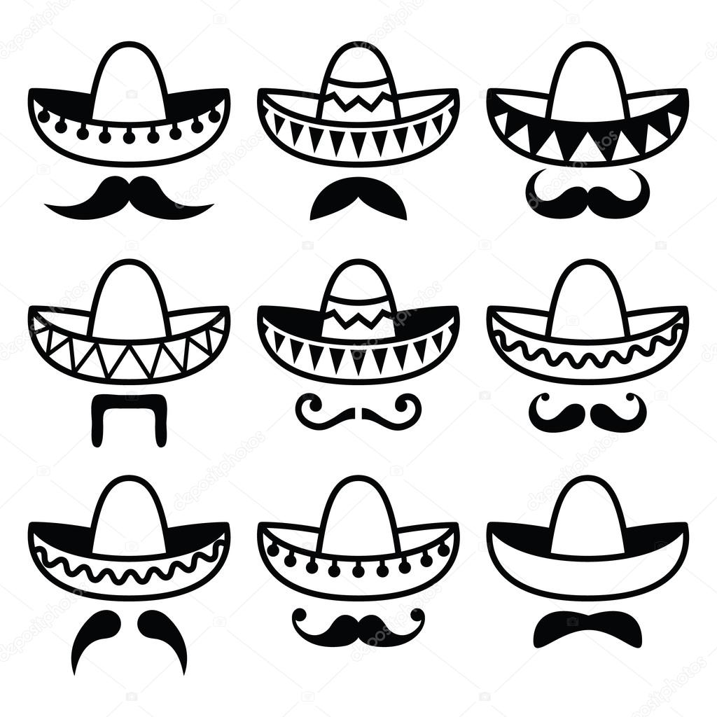 1024x1024 Mexican Sombrero Hat With Moustache Or Mustache Icons Stock