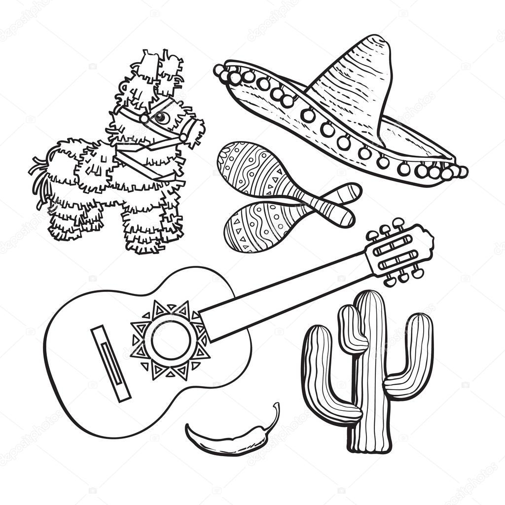 1024x1024 Mexican Set Sombrero, Pinata, Maraca, Cactus, Chili And Spanish