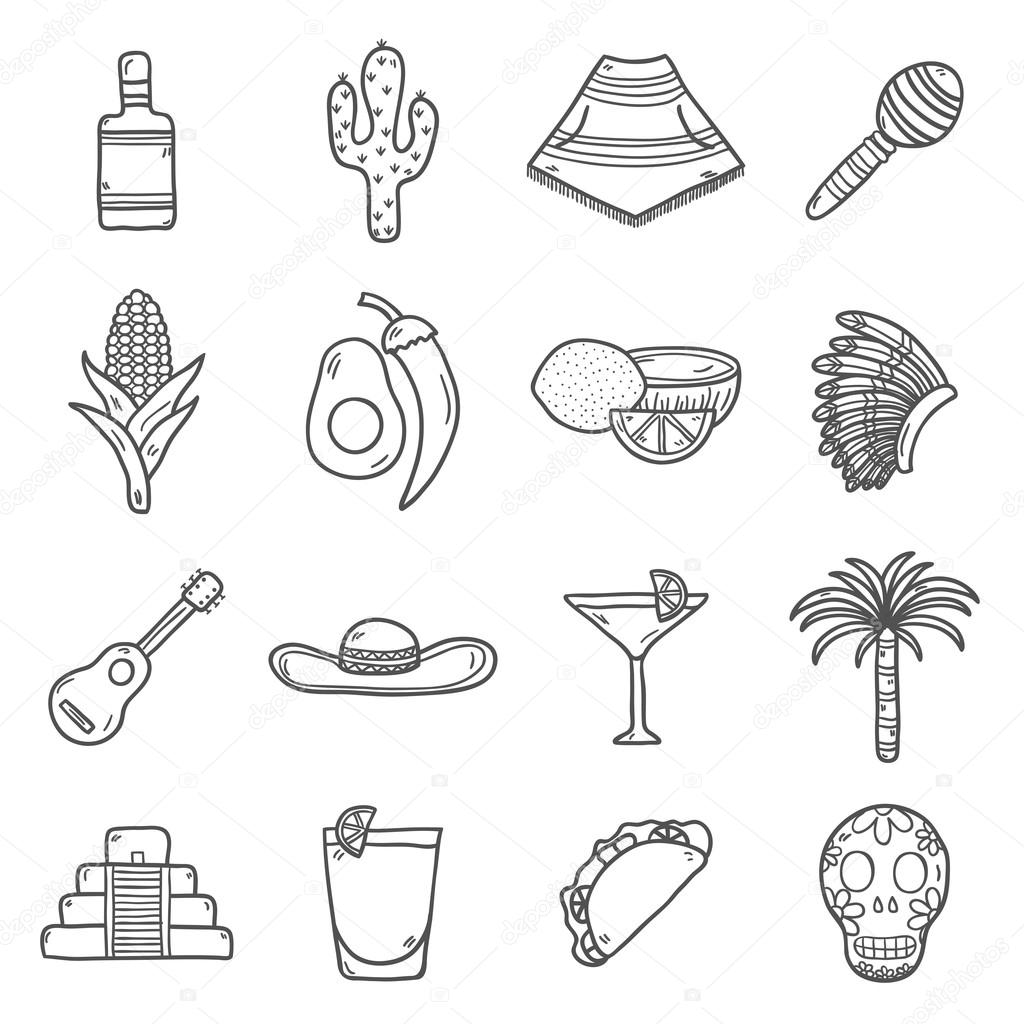 1024x1024 Set Of Cute Hand Drawn Outline Icons On Mexico Theme Sombrero