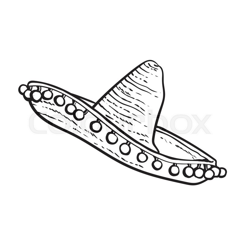 800x800 Traditional Mexican Wide Brimmed Sombrero Hat, Black And White