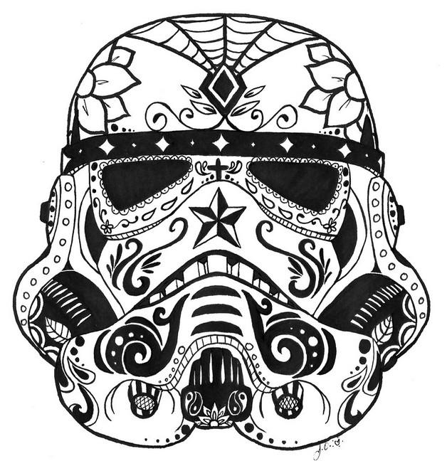 628x648 Star Wars Stormtrooper Mexican Sugar Skull Tattoo On Foot