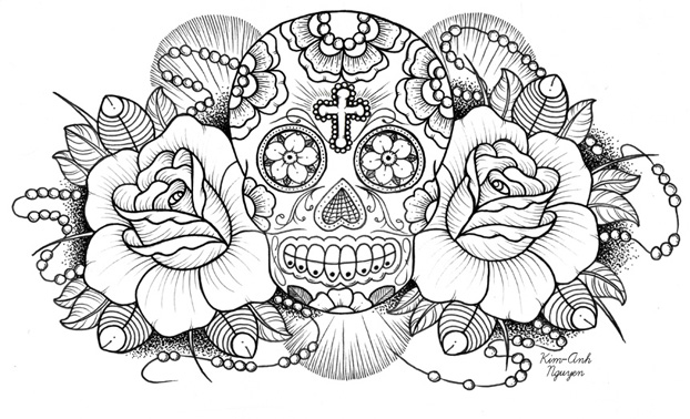 Mexican Sugar Skull Drawing at GetDrawings.com   Free for personal ...