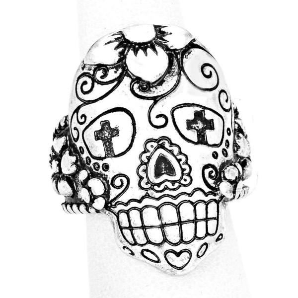 600x600 Day Of The Dead Mexican Sugar Skull Stretch Ring Azrihr775 Asl Hal