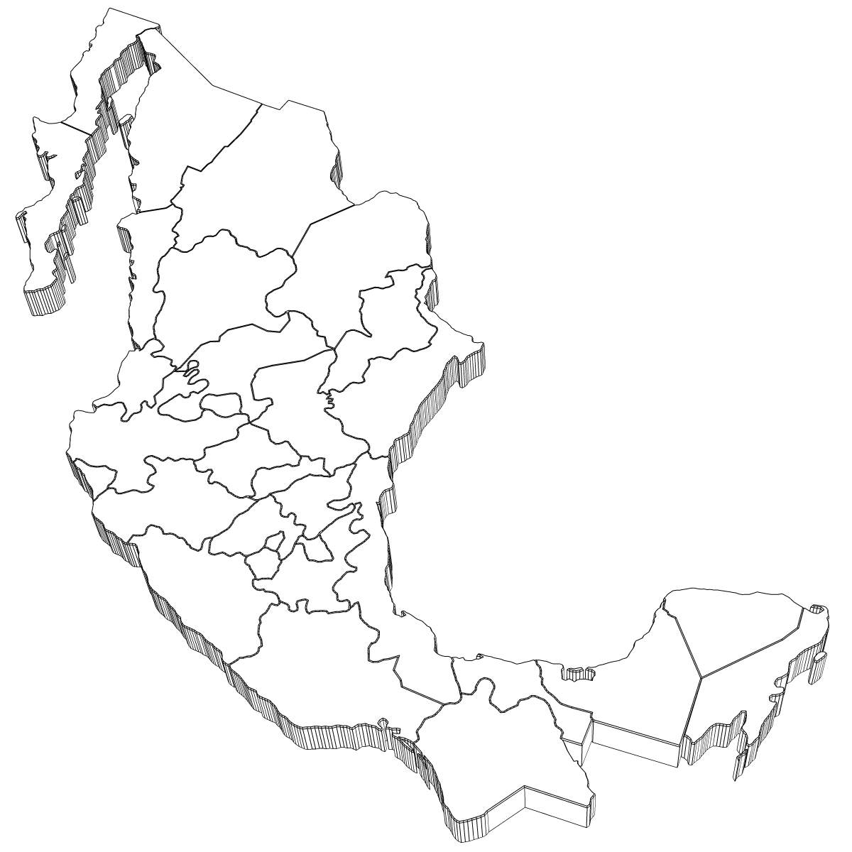 1200x1200 3d Model Mexico Map Cgtrader