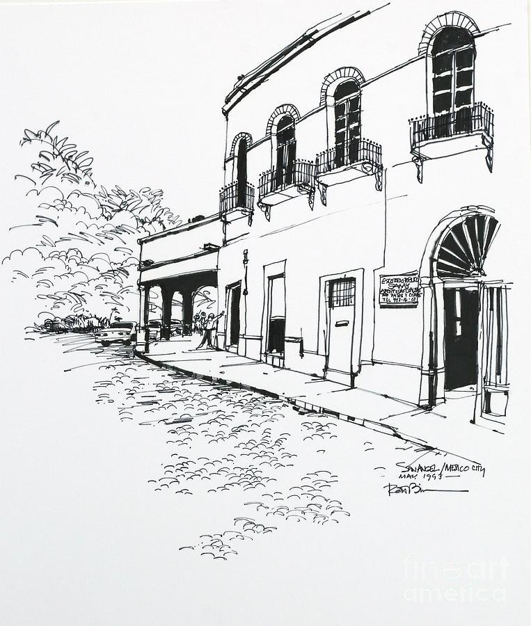 763x900 City San Angel Building Drawing By Robert Birkenes